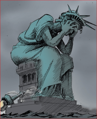 Lady Liberty crying