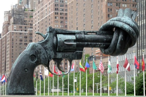 Knotted gun sculpture